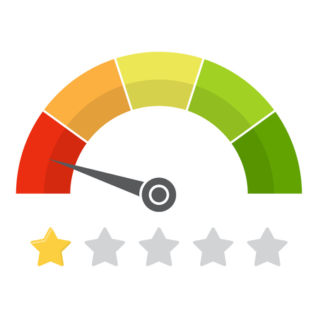 Customer satisfaction meter with star rating. Vector illustration.