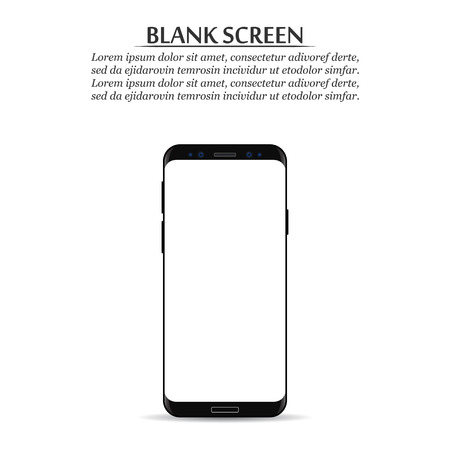 Blank screen. Black smartphone on a white background.  イラスト・ベクター素材
