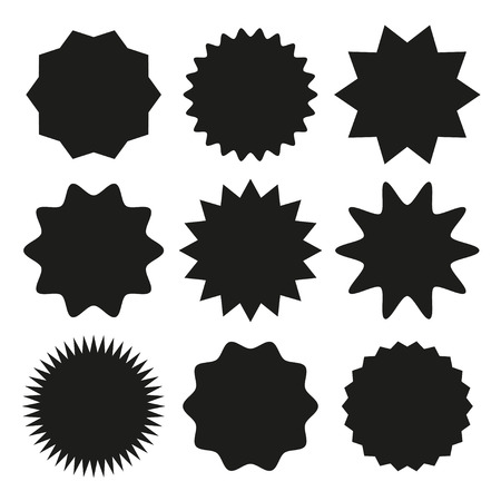 Set of starburst, sunburst badges for design. Vector illustration.