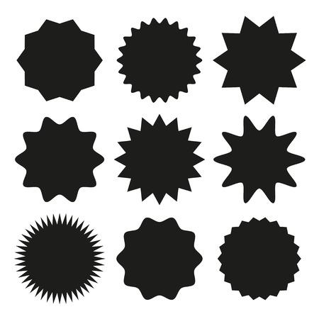 Set von Starburst, Sunburst-Abzeichen für das Design. Vektor-Illustration. Vektorgrafik