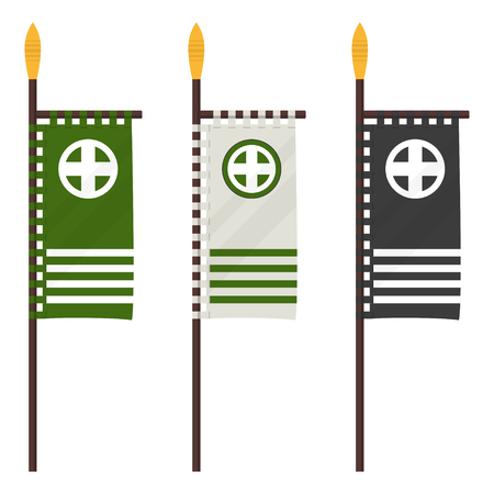 Set of Japanese flag banner with    clan in a flat design. 矢量图像