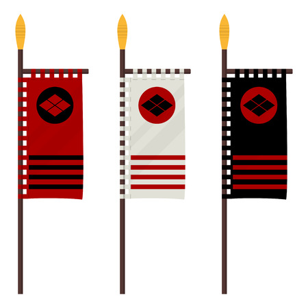 Set of Japanese flag banner with clan in a flat design. Illustration