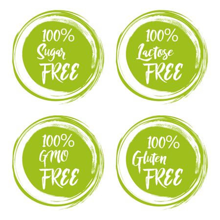 Set of round green labels with text - lactose free, sugar free, gluten free, gmo free. Illustration