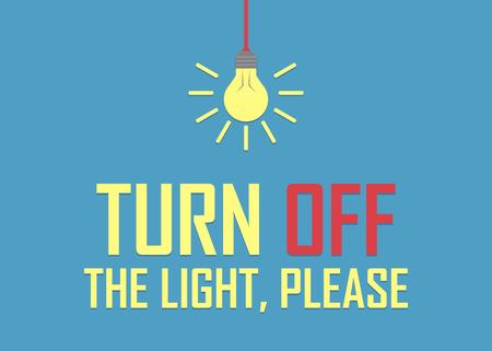 Schalten Sie das Licht aus, bitte Hintergrund in einem flachen Design.