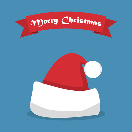 Santa hat with shadow and ribbon in a flat design.