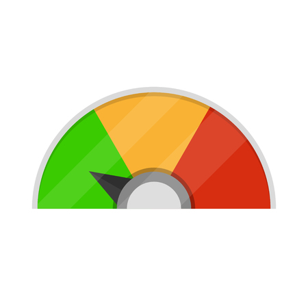 Speedometer icon. Colorful infographic gauge element. Vector illustration