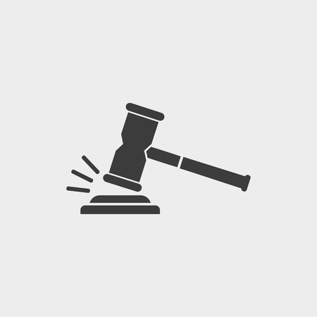 Gavel icon in a flat design. Vector illustration.  イラスト・ベクター素材