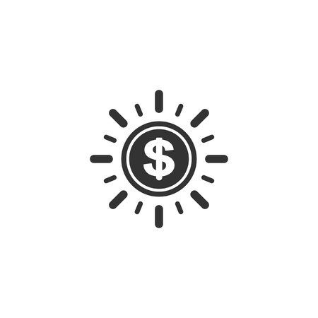 Dollar coin with sun ray icon in simple design. Vector illustration.