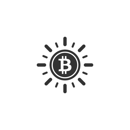 Bitcoin coin with sun ray icon in simple design. Vector illustration.