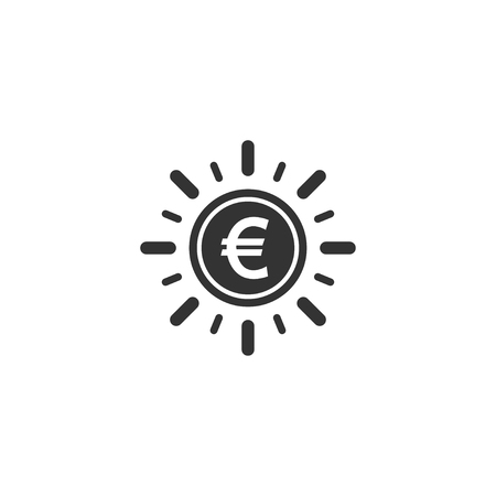 Euro coin with sun ray icon in simple design. Vector illustration.