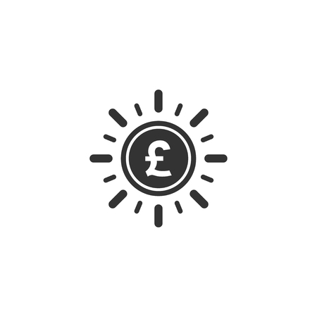 Pound coin with sun ray icon in simple design. Vector illustration. Ilustração