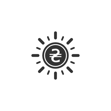Hryvnia coin with sun ray icon in simple design. Vector illustration.