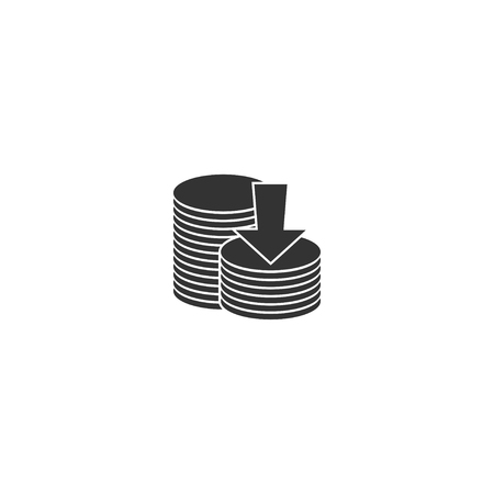 Coin stack with arrow icon in simple design. Vector illustration.