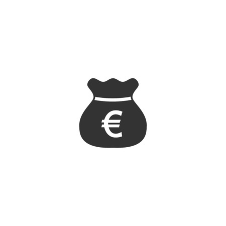 Euro bag icon in simple design. Vector illustration.