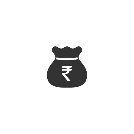 Rupee bag icon in simple design. Vector illustration.