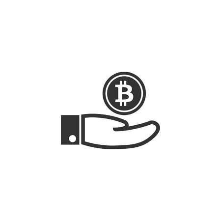 Hand with bitcoin icon in simple design. Vector illustration.