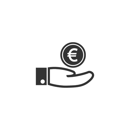 Hand with euro icon in simple design. Vector illustration.