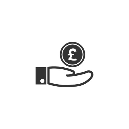 Hand with pound icon in simple design. Vector illustration. Ilustração