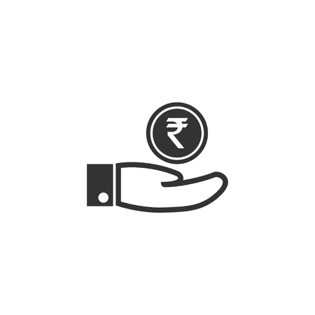 Hand with rupee icon in simple design. Vector illustration.