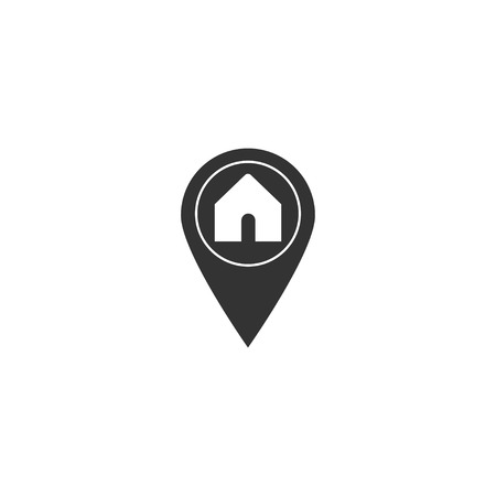 Home map pointer icon in simple design. Vector illustration. Иллюстрация