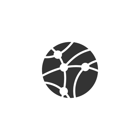 Global network icon in simple design. Vector illustration.