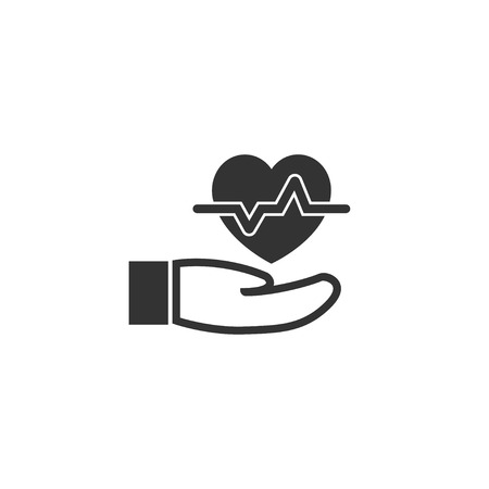 Heartbeat in hand icon in simple design. Vector illustration.