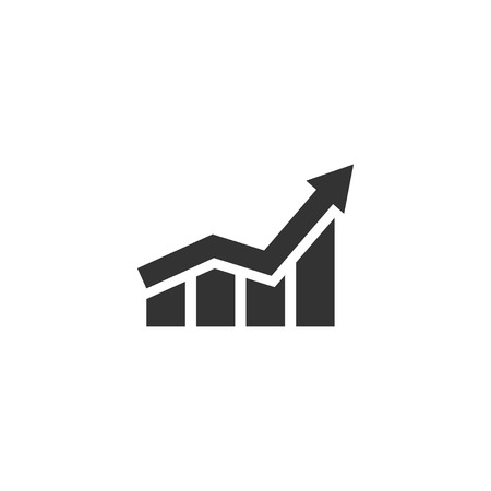 Growing graph icon in simple design. Vector illustration. Ilustração
