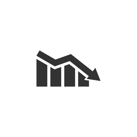 Falling graph icon in simple design. Vector illustration.