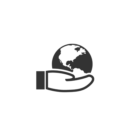 Earth in hand icon in simple design. Vector illustration.