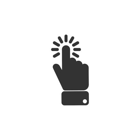 Click finger icon in simple design. Vector illustration. Ilustração