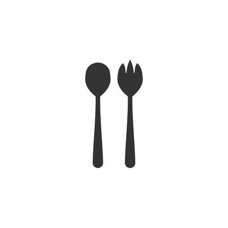Salad spoon and fork icon in simple design. Vector illustration