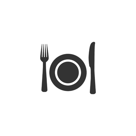 Fork, plate and knife icon in simple design. Vector illustration 写真素材 - 119985043