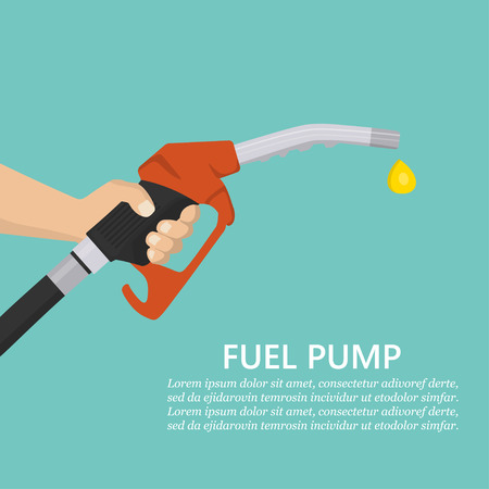 Hand holding fuel pump in a flat design