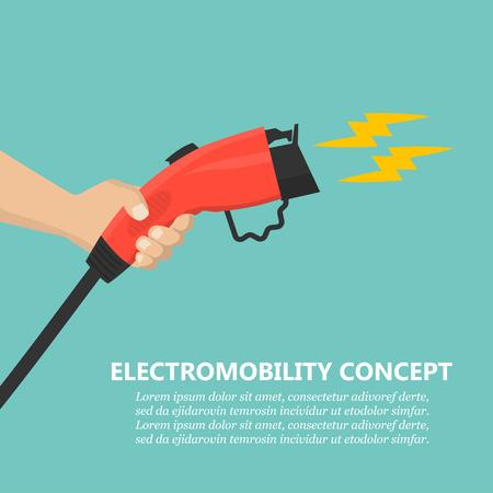 Hand met oplaadstekker voor laadstation voor elektrische auto's