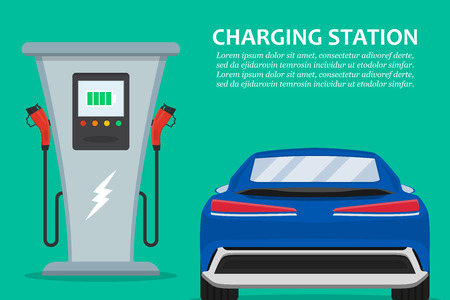 Electric car charging station with car in a flat design 写真素材 - 124256433