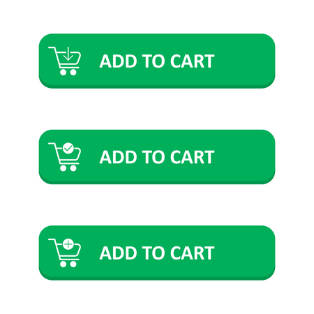 Set of add to cart button in a flat design