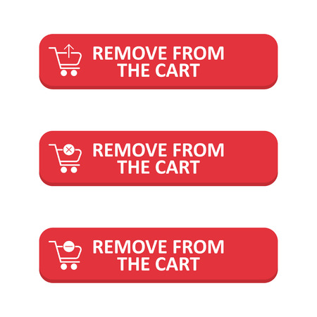Set of remove from the cart button in a flat design