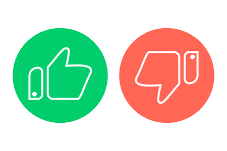 Like and dislike icon in a flat design