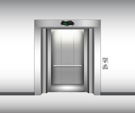 Realistic open metal elevator mockup. Vector illustration Illustration