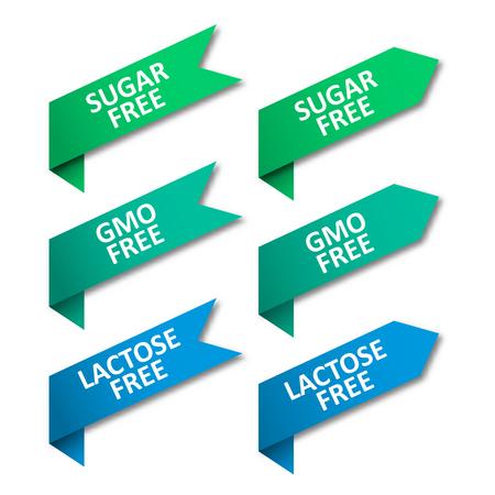 Set of tags ribbons. Sugar free, GMO free, lactose free