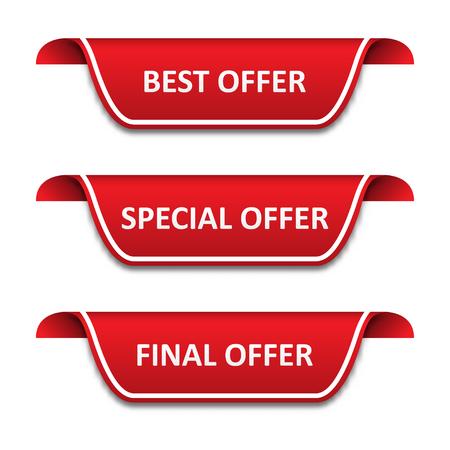 Set of tags ribbons. Best offer, special offer, final offer Ilustração