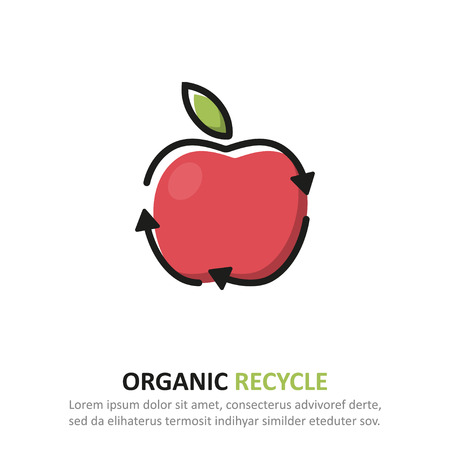 Recycle organic icon in a flat design. Vector illustration