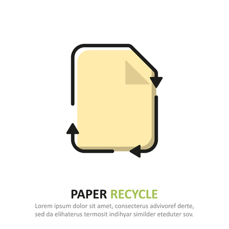 Recycle paper icon in a flat design. Vector illustration