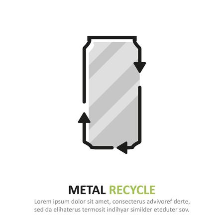 Recycle metal icon in a flat design. Vector illustration Ilustração