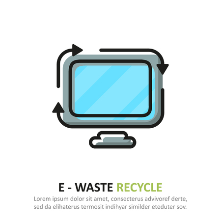 Recycle e waste icon in a flat design. Vector illustration Ilustração