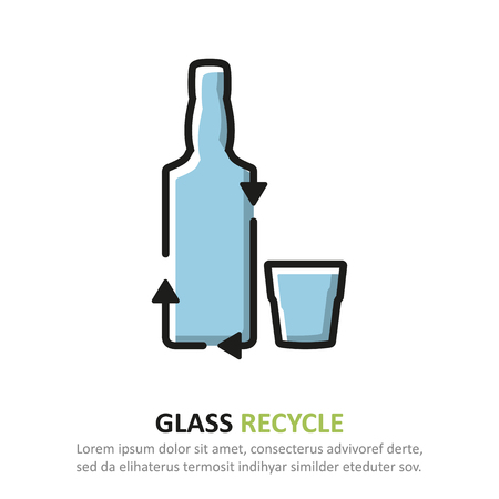 Recycle glass icon in a flat design. Vector illustration