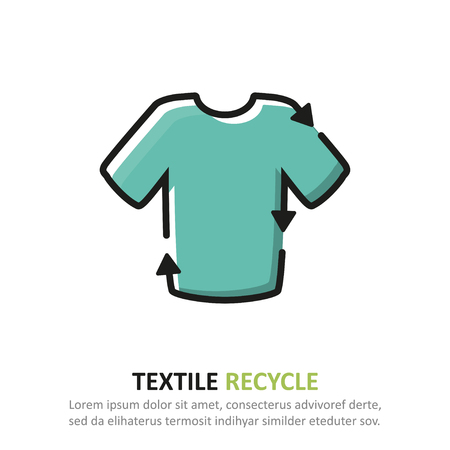 Recycle textile icon in a flat design. Vector illustration