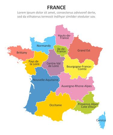 Francia mapa multicolor con regiones. Ilustración vectorial