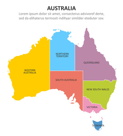 Australia multicolored map with regions. Vector illustration