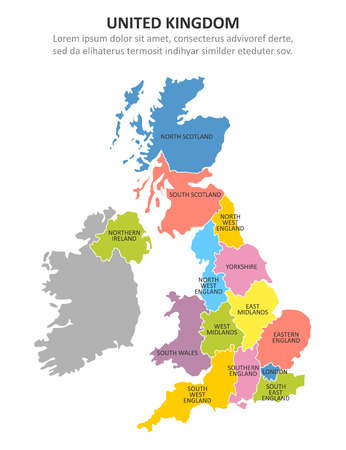 UK multicolored map with regions. Vector illustration